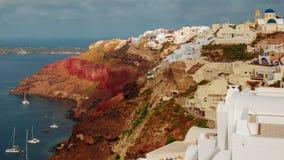 Het Griekse Santorini-Schot van het de Ochtendclose-up van Calderatimelapse stock videobeelden