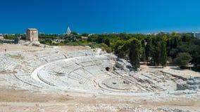 Het Griekse theater van Syracuse (Sicilië) Stock Foto's