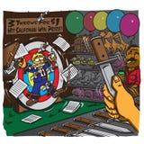 Het griezelige Carnaval-spel - geraakt verkopersdoel en wint een prijs Royalty-vrije Stock Afbeelding