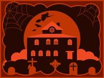 Het griezelige huis van Halloween met een begraafplaats, een vliegende heks op de achtergrond van de maan Vector stock illustratie