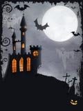 Het griezelige kasteel van Halloween, vectorachtergrond Royalty-vrije Stock Foto