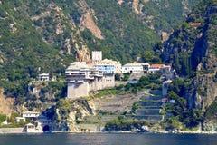 Het Grigoriouklooster zet Athos Greece op royalty-vrije stock foto's