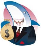 Het grijnzen leningshaai met zak van dollars Stock Afbeeldingen