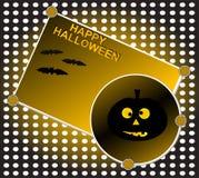 Het grijnzen pompoen bij nacht. De achtergrond van Halloween Stock Foto's