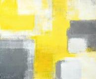Het grijze en Gele Abstracte Schilderen van de Kunst stock afbeeldingen