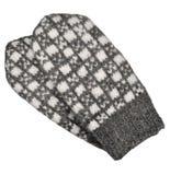 Het grijze geïsoleerde vuisthandschoenpaar, het grijze witte geweven wollen vuisthandschoenenpatroon, breiden warm fingerless gro Royalty-vrije Stock Foto