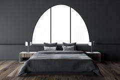 Het grijze overspannen binnenland van de vensters hoofdslaapkamer Royalty-vrije Stock Foto's