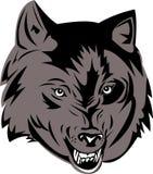 Het grijze wolf snauwen Stock Foto's