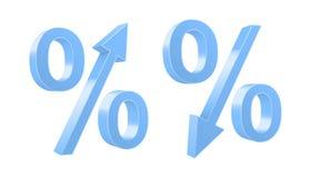 Het groeien en het dalen percentensymbolen Stock Afbeelding