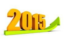 Het groeien van de pijl van het het jaarsucces van 2015 Stock Fotografie