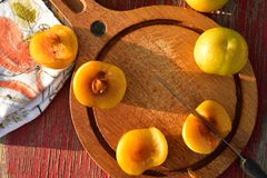 Het groenachtig gele hybride fruitkruis van pruim en abrikoos riep Pluots, apriums, apriplums, of plumcots Stock Foto
