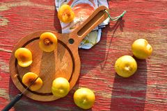 Het groenachtig gele hybride fruitkruis van pruim en abrikoos riep Pluots, apriums, apriplums, of plumcots Royalty-vrije Stock Fotografie