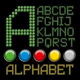 Het groene alfabet van knopenbrieven stock illustratie