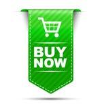 Het groene bannerontwerp koopt nu Stock Foto's