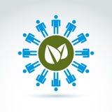 Het groene bladeren globale leven en mensheids symbolisch pictogram, vectorconce Royalty-vrije Stock Foto