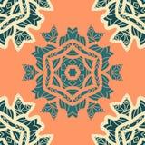 Het groene en oranje ornament van kleurenmandala Het decoratieve sierpatroon van de kleurings antistresstherapie Stoffenontwerp Stock Afbeeldingen