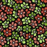 Het groene en oranje patroon van de krabbelbloem Naadloze leuke bloesemachtergrond De lentebehang Royalty-vrije Stock Afbeeldingen