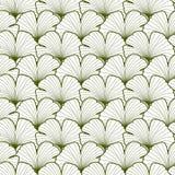 Het groene en witte grafische naadloze patroon van ginkgobladeren Stock Foto