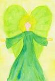 Het groene engelen abstracte waterverf schilderen royalty-vrije illustratie