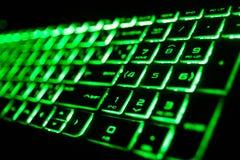 het groene fluorescente computertoetsenbord royalty-vrije stock afbeeldingen