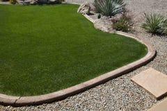 Het groene Gazon van het Gras met Stenen en Rotsen Stock Foto