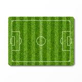 Het groene gebied van het grasvoetbal Stock Afbeelding