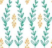 Het groene gele naadloze patroon van de wijnstokbloem stock illustratie
