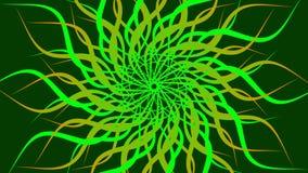 Het groene & gele roteren vormde kleurrijke spiraalvormige, Abstracte golvenachtergrond royalty-vrije illustratie