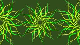 Het groene & gele roteren vormde kleurrijke spiraalvormige, Abstracte golvenachtergrond vector illustratie