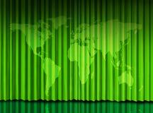 Het Groene gordijn van de wereld op theaterstadium Stock Foto