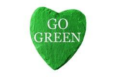 Het groene hart met gaat groen Stock Fotografie