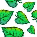 Het groene Hartvormige Patroon van de Bladerenwaterverf vector illustratie