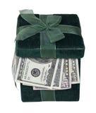 Het groene Hoogtepunt van de Doos van de Gift van Geld Royalty-vrije Stock Foto