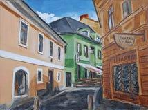 Het groene hotel van het olieverfschilderij Royalty-vrije Stock Afbeeldingen