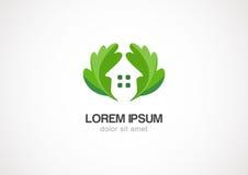 Het groene huis van bladereneco, het vectormalplaatje van het embleemontwerp Stock Fotografie