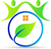 Het groene huis van mensen Stock Illustratie