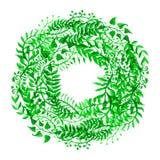 Het groene kader van de waterverfaard stock illustratie