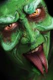 Het groene kijken heks zoals schepselengezicht Royalty-vrije Stock Foto's