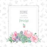 Het groene kleurrijke vierkante kader van het succulents vectorontwerp Stock Foto