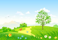 Het groene Landschap van de Lente royalty-vrije illustratie