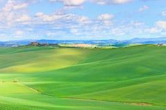 Het groene landschap van Toscanië, land, Siena, Italië. Stock Afbeelding