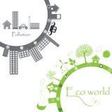 Het groene leven versus verontreiniging Stock Afbeelding