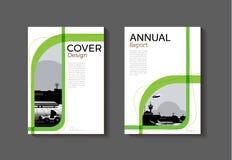 Het groene malplaatje van de het boekbrochure van de dekkings abstracte moderne dekking, desig Stock Afbeeldingen