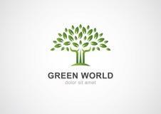Het groene malplaatje van het het embleemontwerp van de cirkelboom vector Tuin of ecologie Stock Foto's