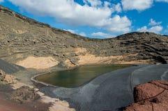 Het groene meer in Lanzarote Stock Foto's