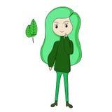 Het groene meisje van het pretbeeldverhaal Stock Fotografie