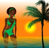 Het groene Meisje van het Strand Royalty-vrije Stock Afbeeldingen
