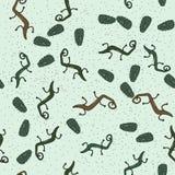 Het groene naadloze patroon van cactuslizzards vector illustratie