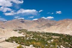 Het groene panorama van de Lehstad, Ladakh, India Royalty-vrije Stock Afbeelding