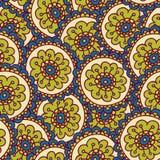 Het groene patroon van de krabbelbloem Stock Afbeeldingen